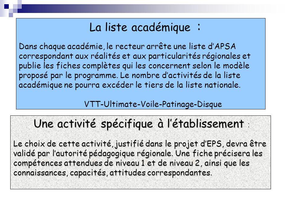 La liste académique : Dans chaque académie, le recteur arrête une liste dAPSA correspondant aux réalités et aux particularités régionales et publie le