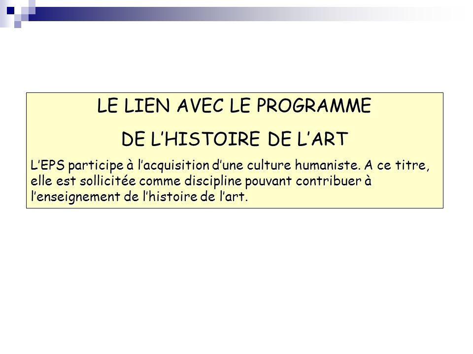 LE LIEN AVEC LE PROGRAMME DE LHISTOIRE DE LART LEPS participe à lacquisition dune culture humaniste. A ce titre, elle est sollicitée comme discipline