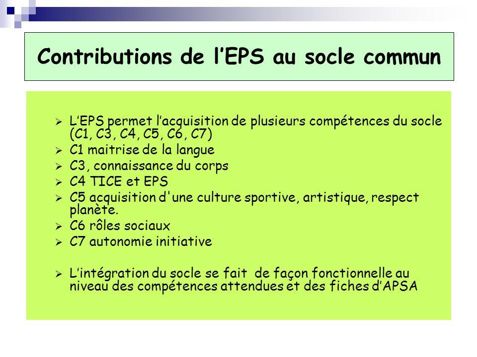 Contributions de lEPS au socle commun LEPS permet lacquisition de plusieurs compétences du socle (C1, C3, C4, C5, C6, C7) C1 maitrise de la langue C3,
