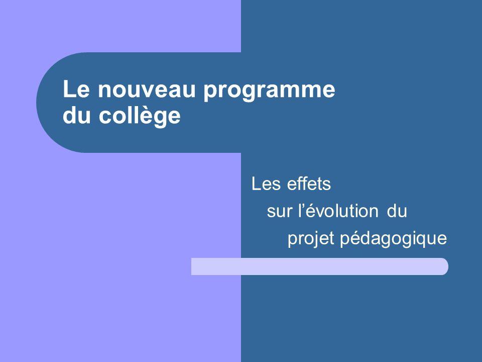 Le nouveau programme du collège Les effets sur lévolution du projet pédagogique