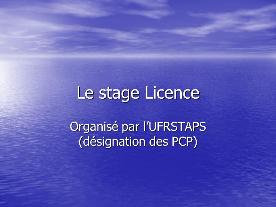 Le stage Licence Organisé par lUFRSTAPS (désignation des PCP)