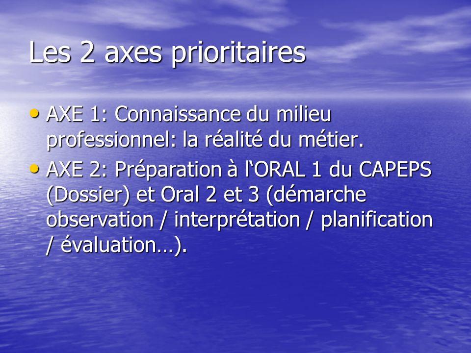 Les 2 axes prioritaires AXE 1: Connaissance du milieu professionnel: la réalité du métier.