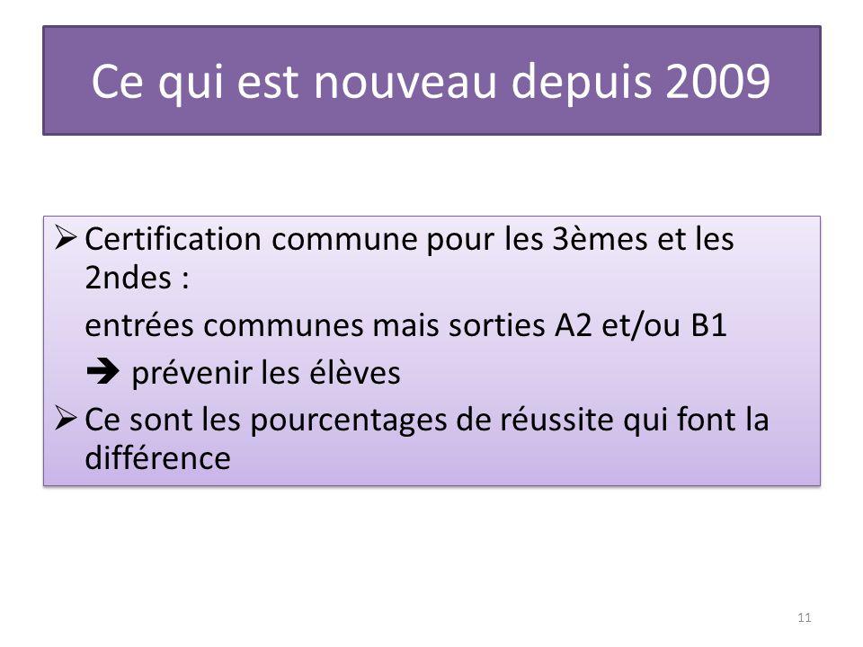 Ce qui est nouveau depuis 2009 Certification commune pour les 3èmes et les 2ndes : entrées communes mais sorties A2 et/ou B1 prévenir les élèves Ce so