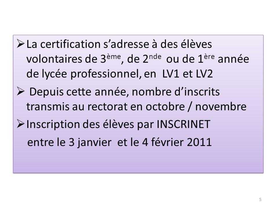 La certification sadresse à des élèves volontaires de 3 ème, de 2 nde ou de 1 ère année de lycée professionnel, en LV1 et LV2 Depuis cette année, nomb