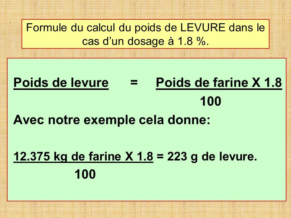 Formule du calcul du poids de LEVURE dans le cas dun dosage à 1.8 %. Poids de levure = Poids de farine X 1.8 100 Avec notre exemple cela donne: 12.375