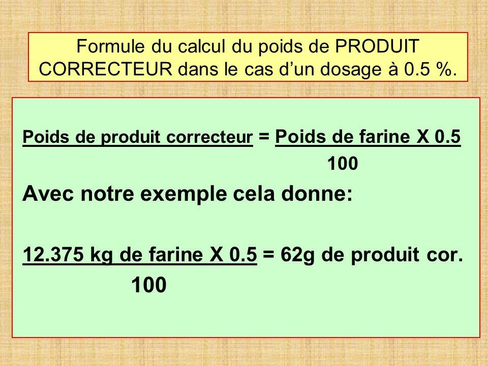 Formule du calcul du poids de PRODUIT CORRECTEUR dans le cas dun dosage à 0.5 %. Poids de produit correcteur = Poids de farine X 0.5 100 Avec notre ex