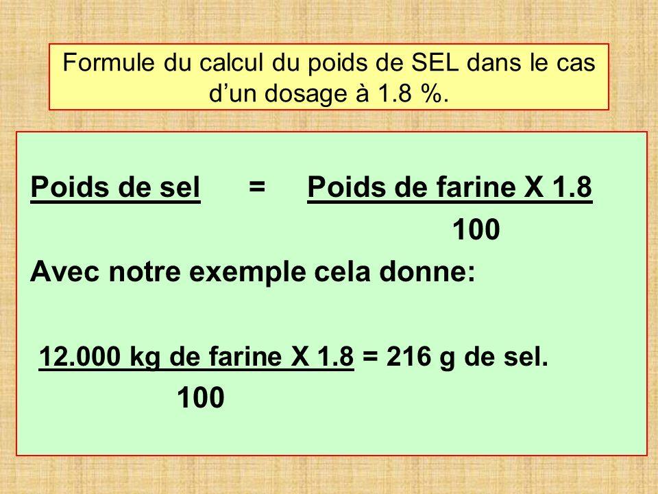 Formule du calcul du poids de SEL dans le cas dun dosage à 1.8 %. Poids de sel = Poids de farine X 1.8 100 Avec notre exemple cela donne: 12.000 kg de