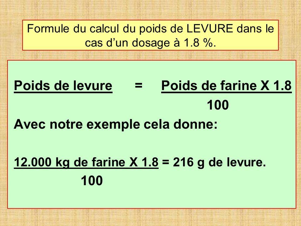Formule du calcul du poids de LEVURE dans le cas dun dosage à 1.8 %.