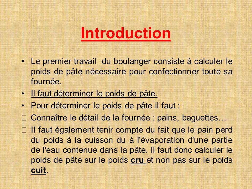 Introduction Le premier travail du boulanger consiste à calculer le poids de pâte nécessaire pour confectionner toute sa fournée. Il faut déterminer l