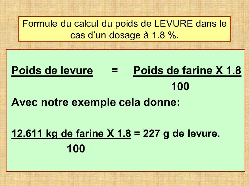 Formule du calcul du poids de LEVURE dans le cas dun dosage à 1.8 %. Poids de levure = Poids de farine X 1.8 100 Avec notre exemple cela donne: 12.611