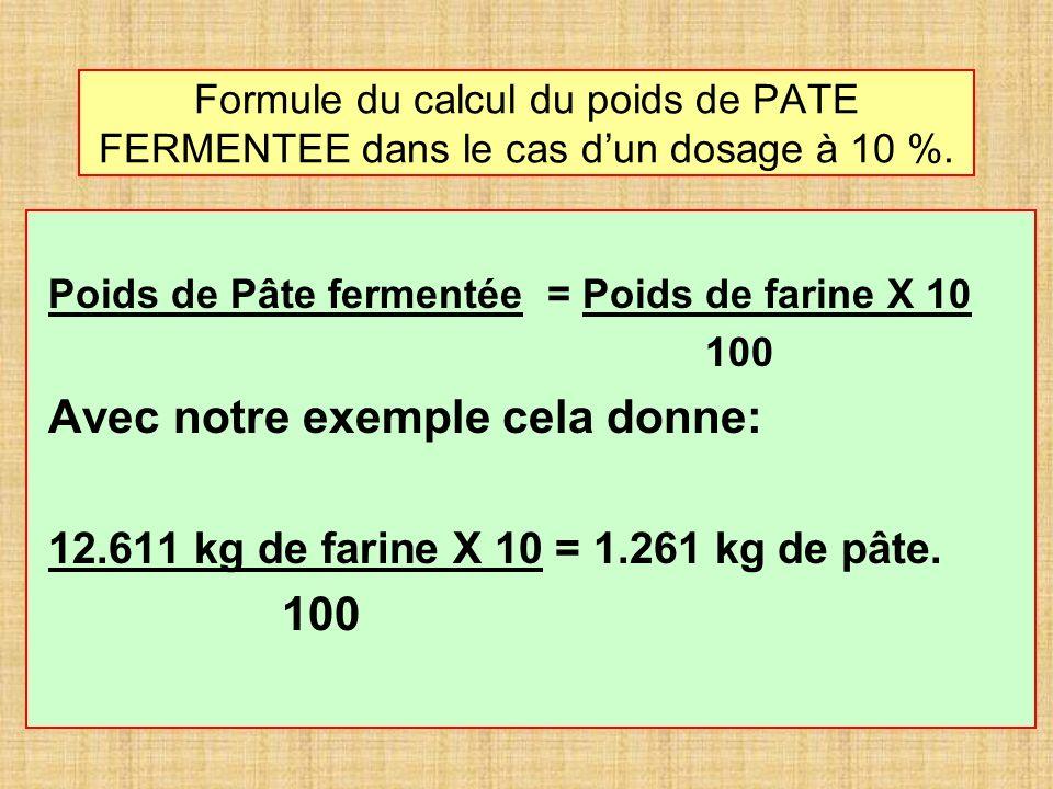 Formule du calcul du poids de PATE FERMENTEE dans le cas dun dosage à 10 %. Poids de Pâte fermentée = Poids de farine X 10 100 Avec notre exemple cela