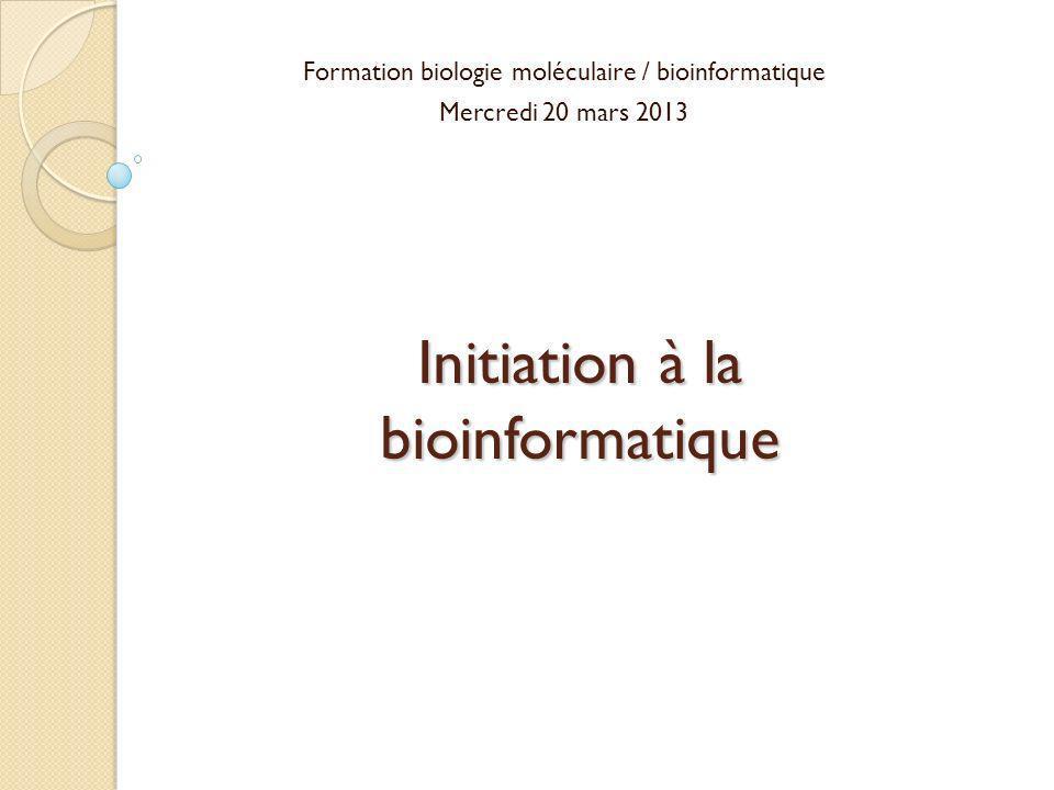Initiation à la bioinformatique Formation biologie moléculaire / bioinformatique Mercredi 20 mars 2013