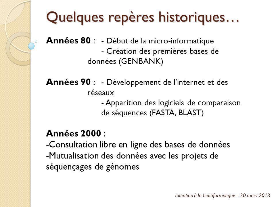 Initiation à la bioinformatique – 20 mars 2013 Quelques repères historiques… Années 80 : - Début de la micro-informatique - Création des premières bas