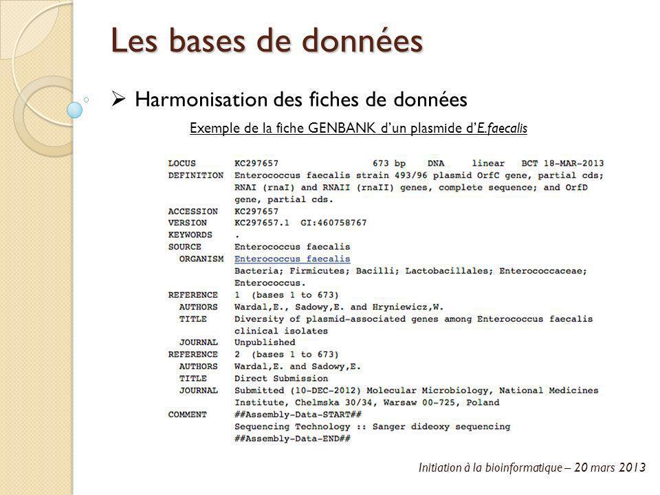 Initiation à la bioinformatique – 20 mars 2013 Les bases de données Harmonisation des fiches de données Exemple de la fiche GENBANK dun plasmide dE.fa
