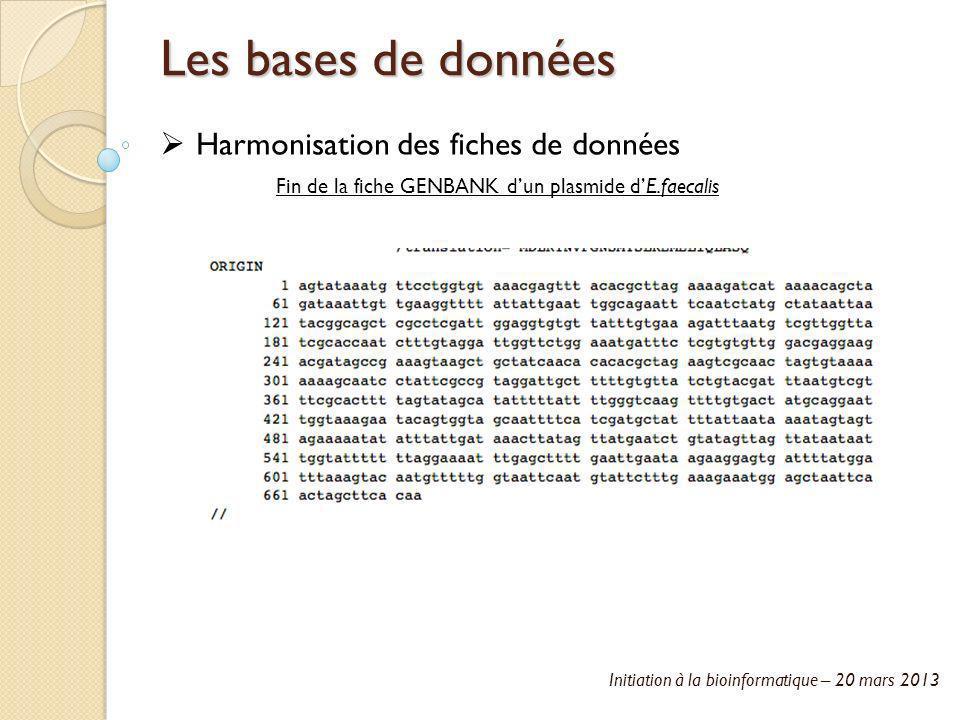 Initiation à la bioinformatique – 20 mars 2013 Les bases de données Harmonisation des fiches de données Fin de la fiche GENBANK dun plasmide dE.faecal