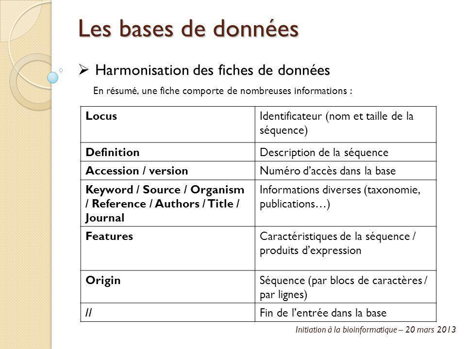 Initiation à la bioinformatique – 20 mars 2013 Les bases de données Harmonisation des fiches de données En résumé, une fiche comporte de nombreuses in