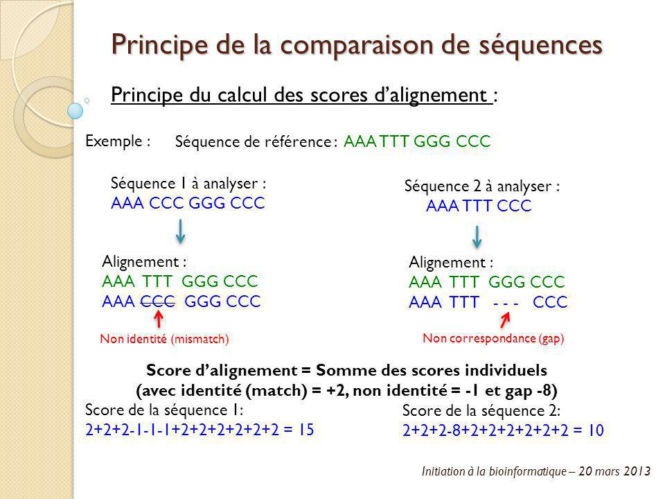 Initiation à la bioinformatique – 20 mars 2013 Principe de la comparaison de séquences Principe du calcul des scores dalignement : Séquence de référen