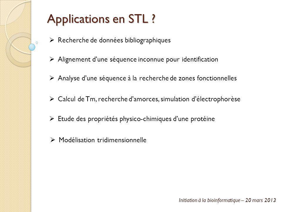 Initiation à la bioinformatique – 20 mars 2013 Applications en STL ? Recherche de données bibliographiques Alignement dune séquence inconnue pour iden