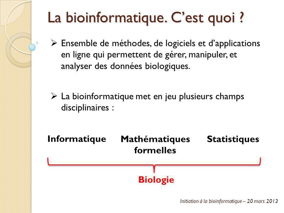 Initiation à la bioinformatique – 20 mars 2013 La bioinformatique. Cest quoi ? Ensemble de méthodes, de logiciels et dapplications en ligne qui permet