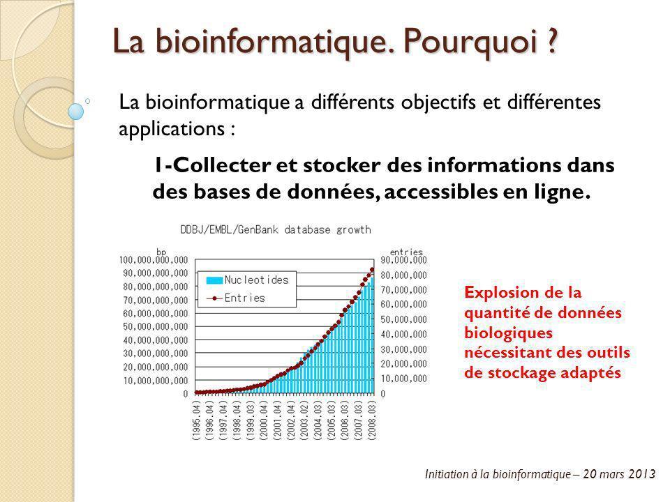 Initiation à la bioinformatique – 20 mars 2013 La bioinformatique. Pourquoi ? La bioinformatique a différents objectifs et différentes applications :