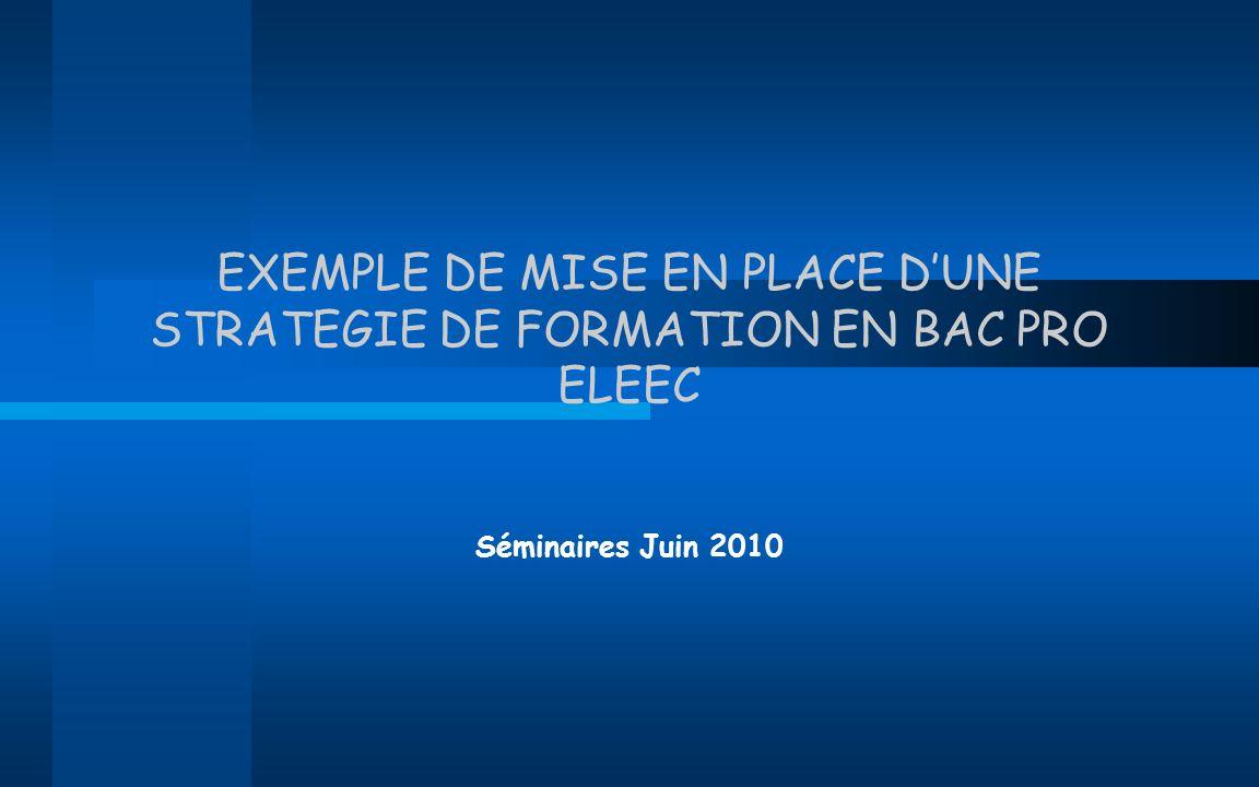 EXEMPLE DE MISE EN PLACE DUNE STRATEGIE DE FORMATION EN BAC PRO ELEEC Séminaires Juin 2010