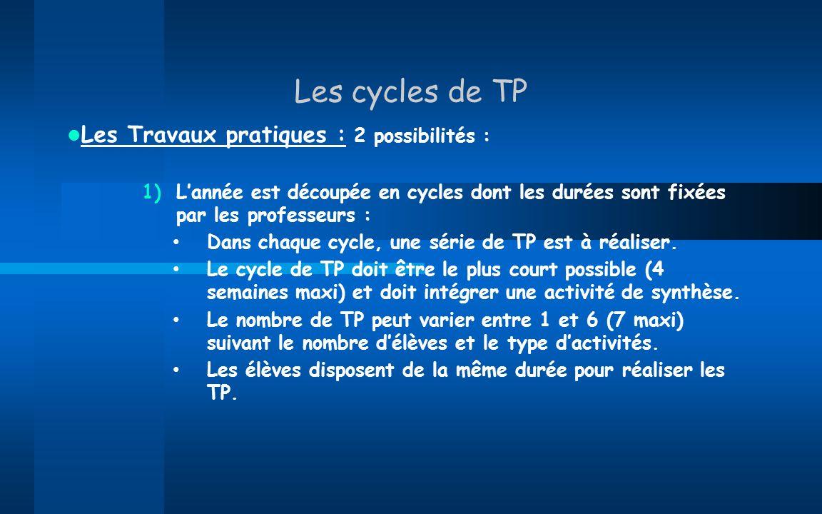 Les cycles de TP Les Travaux pratiques : 2 possibilités : 1)Lannée est découpée en cycles dont les durées sont fixées par les professeurs : Dans chaqu