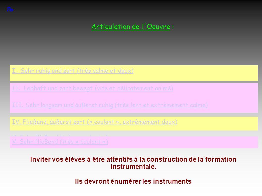 Articulation de l Oeuvre : Љ Inviter vos élèves à être attentifs à la construction de la formation instrumentale.