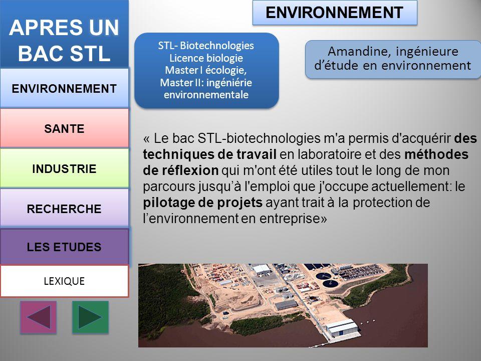 STL-Biotechnologies CPGE TB* École dingénieur Agro Paris tech STL-Biotechnologies CPGE TB* École dingénieur Agro Paris tech ENVIRONNEMENT SANTE INDUSTRIE RECHERCHE LES ETUDES Aude, Ingénieur agronome à la FAO ENVIRONNEMENT LEXIQUE « …La série STL-biotechnologies m a apporté une approche beaucoup plus concrète des sciences du vivant et je pense que c est un atout pour un futur ingénieur.