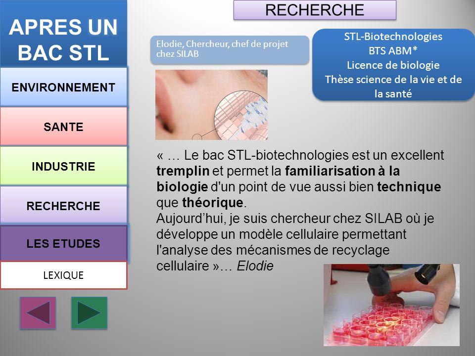 STL-Biotechnologies BTS ABM* Licence de biologie Thèse science de la vie et de la santé STL-Biotechnologies BTS ABM* Licence de biologie Thèse science
