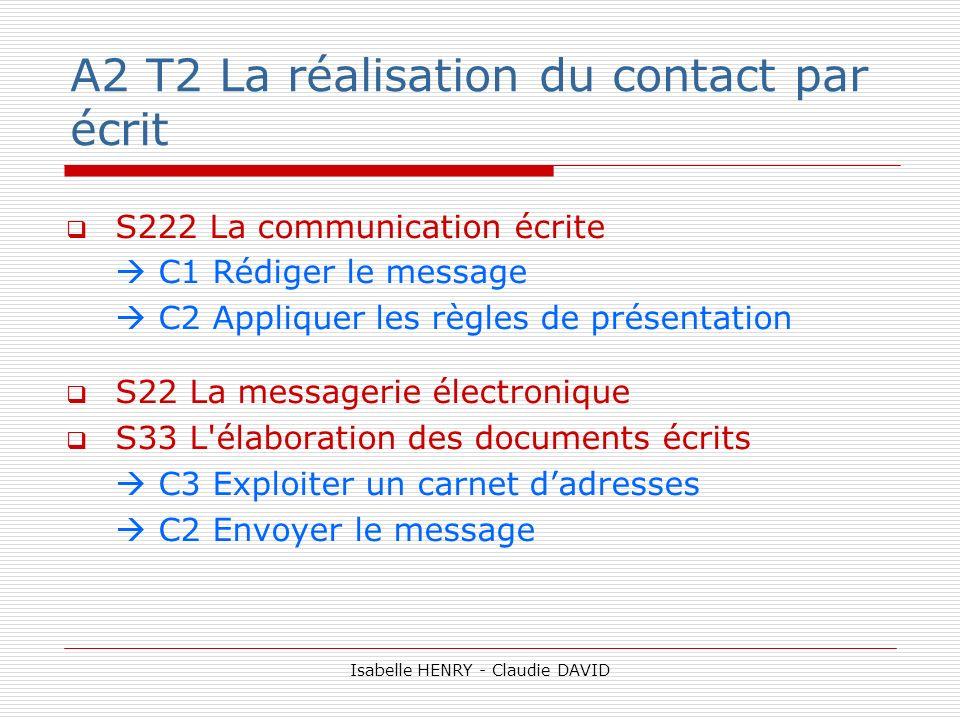 A2 T2 La réalisation du contact par écrit S222 La communication écrite C1 Rédiger le message C2 Appliquer les règles de présentation S22 La messagerie