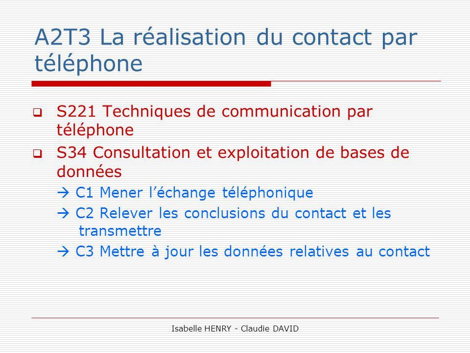 A2T3 La réalisation du contact par téléphone S221 Techniques de communication par téléphone S34 Consultation et exploitation de bases de données C1 Me