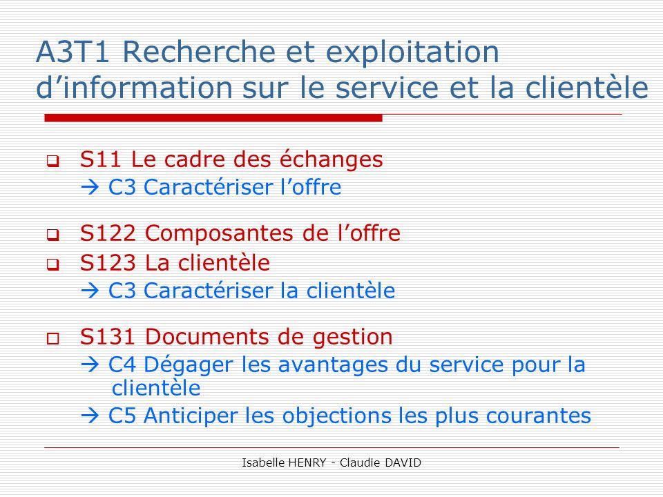 A3T1 Recherche et exploitation dinformation sur le service et la clientèle S11 Le cadre des échanges C3 Caractériser loffre S122 Composantes de loffre