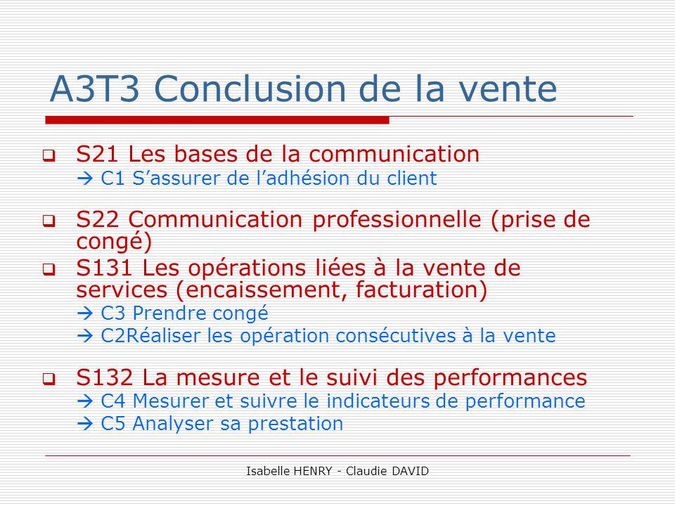 A3T3 Conclusion de la vente S21 Les bases de la communication C1 Sassurer de ladhésion du client S22 Communication professionnelle (prise de congé) S1