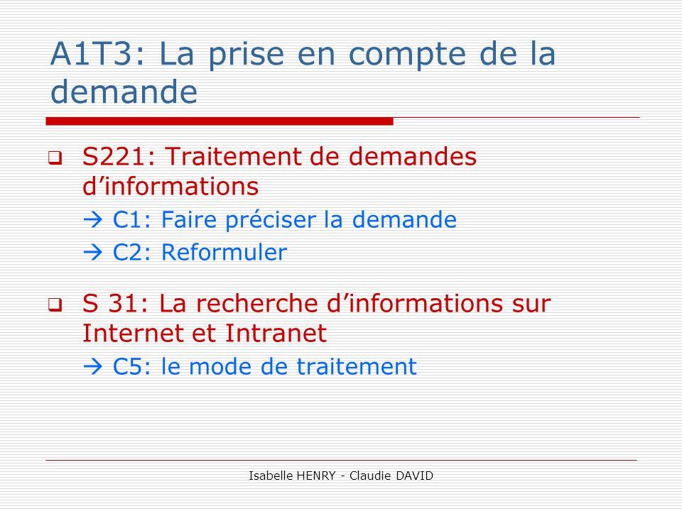 A1T3: La prise en compte de la demande S221: Traitement de demandes dinformations C1: Faire préciser la demande C2: Reformuler S 31: La recherche dinf