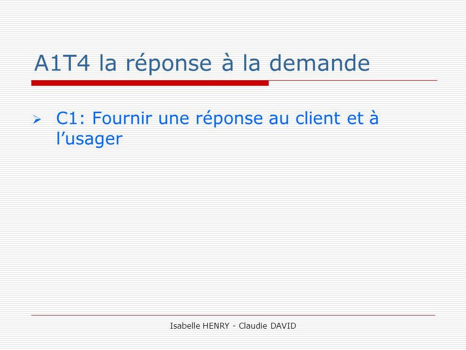 A1T4 la réponse à la demande C1: Fournir une réponse au client et à lusager Isabelle HENRY - Claudie DAVID