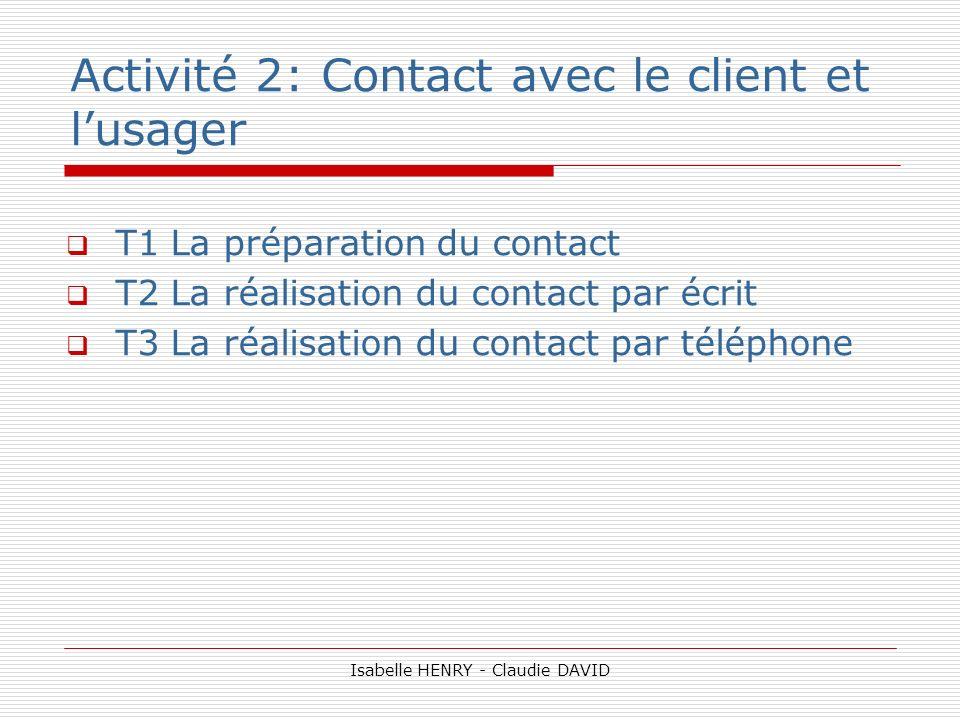 Activité 2: Contact avec le client et lusager T1 La préparation du contact T2 La réalisation du contact par écrit T3 La réalisation du contact par tél