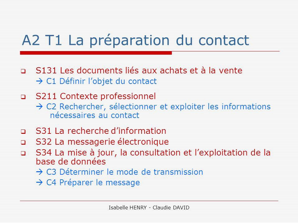 A2 T1 La préparation du contact S131 Les documents liés aux achats et à la vente C1 Définir lobjet du contact S211 Contexte professionnel C2 Recherche