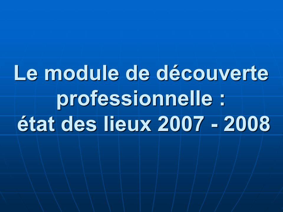 Le module de découverte professionnelle : état des lieux 2007 - 2008