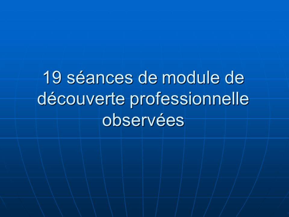 19 séances de module de découverte professionnelle observées