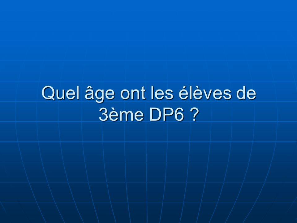 Quel âge ont les élèves de 3ème DP6