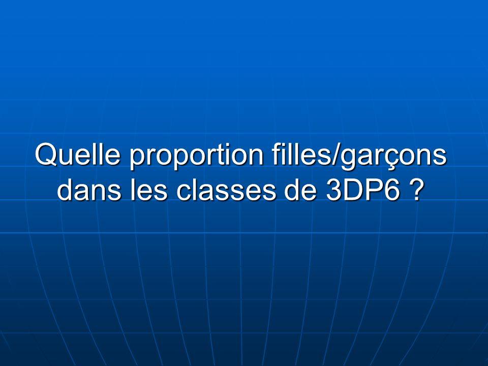 Quelle proportion filles/garçons dans les classes de 3DP6 ?