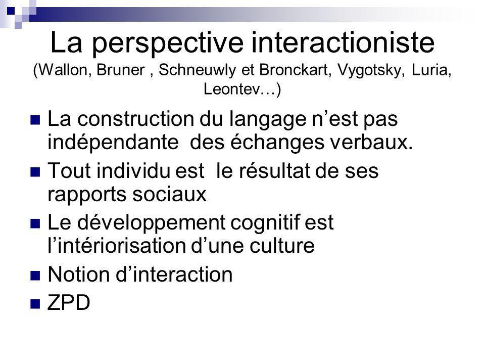 La perspective interactioniste (Wallon, Bruner, Schneuwly et Bronckart, Vygotsky, Luria, Leontev…) La construction du langage nest pas indépendante de