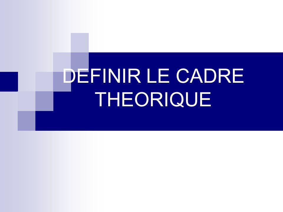 DEFINIR LE CADRE THEORIQUE