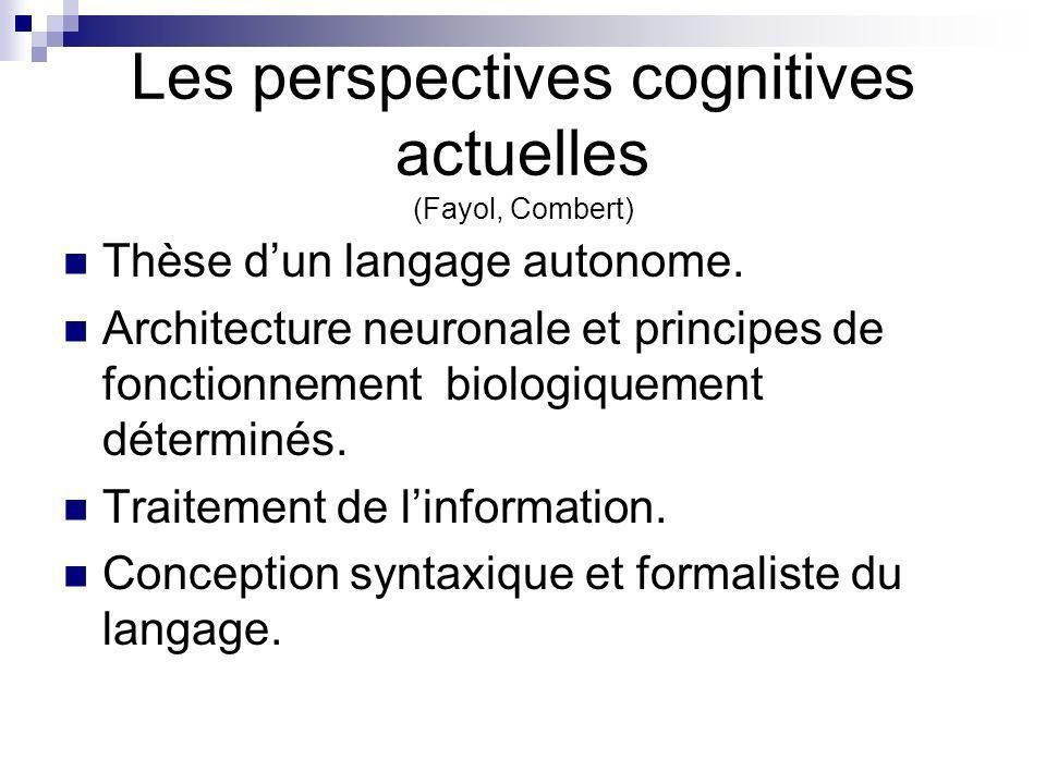 Les perspectives cognitives actuelles (Fayol, Combert) Thèse dun langage autonome. Architecture neuronale et principes de fonctionnement biologiquemen