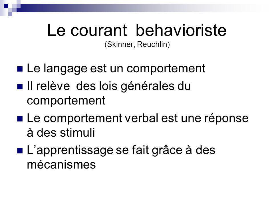 Le courant behavioriste (Skinner, Reuchlin) Le langage est un comportement Il relève des lois générales du comportement Le comportement verbal est une réponse à des stimuli Lapprentissage se fait grâce à des mécanismes