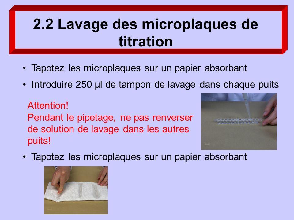 2.2 Lavage des microplaques de titration Tapotez les microplaques sur un papier absorbant Introduire 250 µl de tampon de lavage dans chaque puits Atte