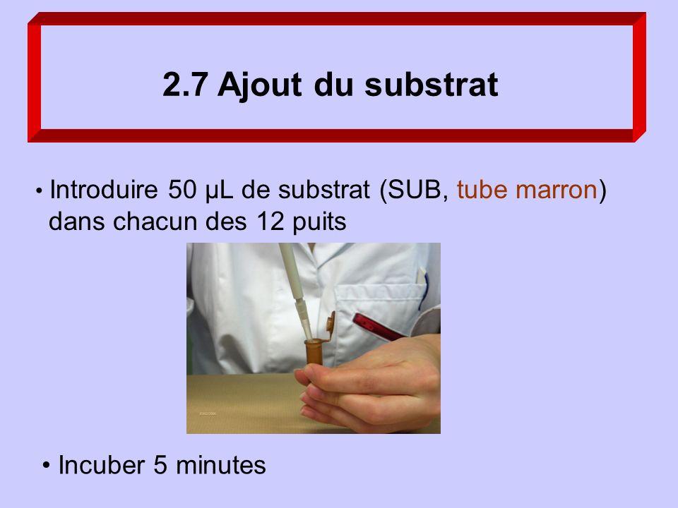 2.7 Ajout du substrat Incuber 5 minutes Introduire 50 µL de substrat (SUB, tube marron) dans chacun des 12 puits