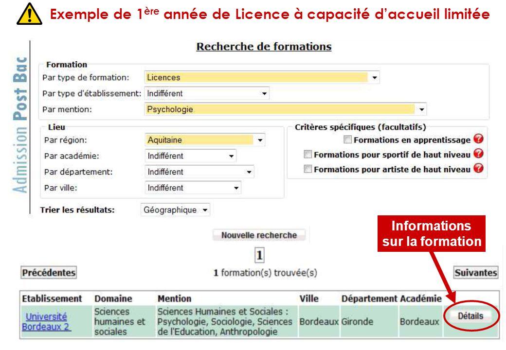 Exemple de 1 ère année de Licence à capacité daccueil limitée Informations sur la formation
