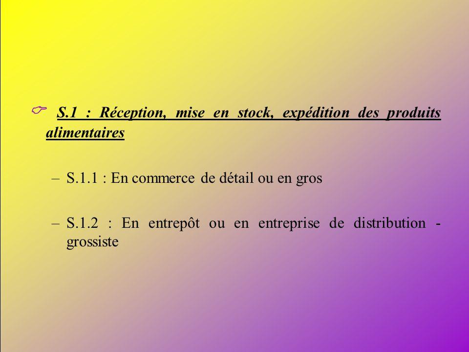 11 S.1 : Réception, mise en stock, expédition des produits alimentaires –S.1.1 : En commerce de détail ou en gros –S.1.2 : En entrepôt ou en entrepris