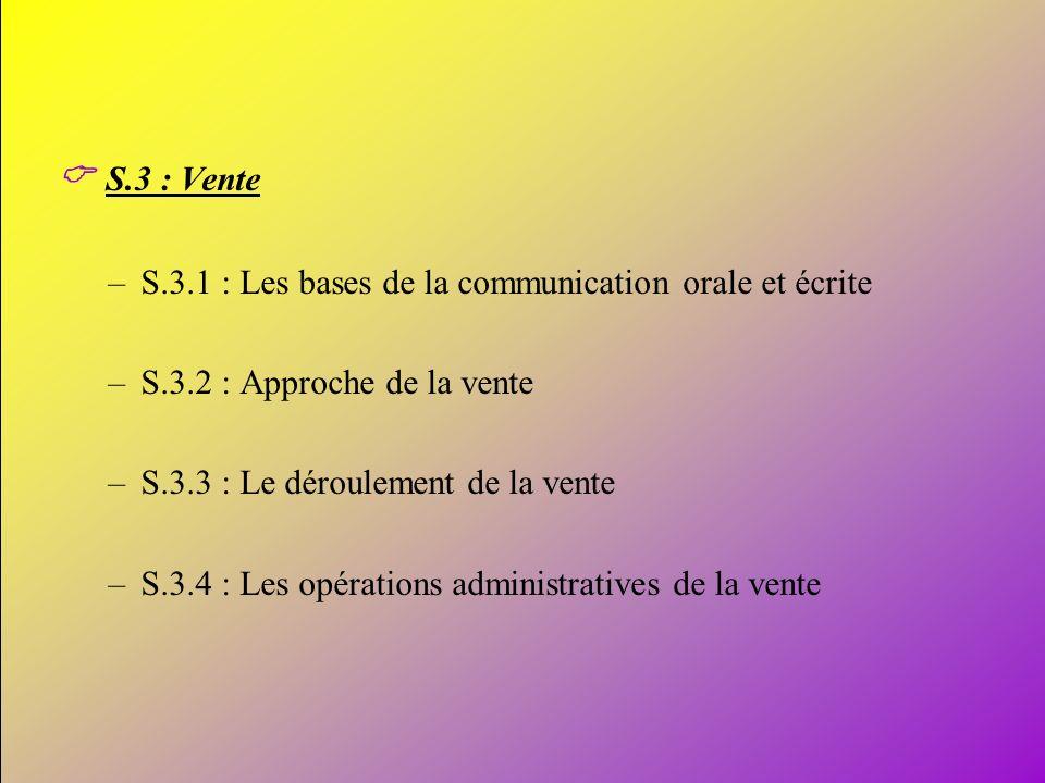 13 S.3 : Vente –S.3.1 : Les bases de la communication orale et écrite –S.3.2 : Approche de la vente –S.3.3 : Le déroulement de la vente –S.3.4 : Les o
